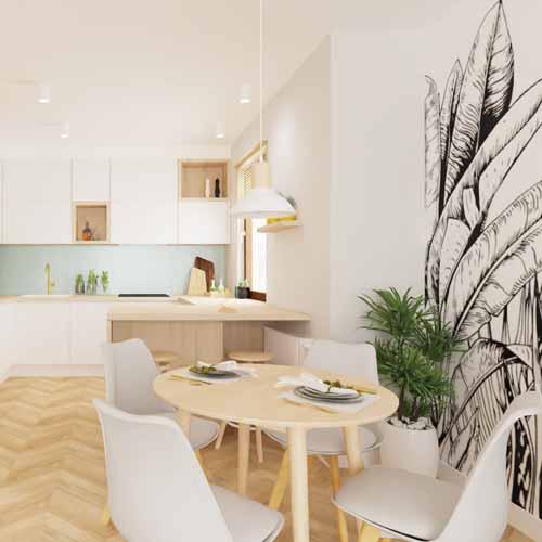 jasne meble kuchenne, malowana sciana, liście, szare krzesła, salon