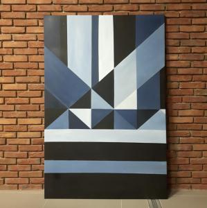 Obraz - abstrakcja geometryczna w kolorze navy blue